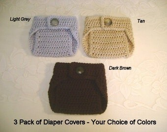3 Pack of Crochet Diaper Covers - Your Choice of Colors - Photo Prop - Available in Newborn, 3 to 6 and 6 to 12 Month