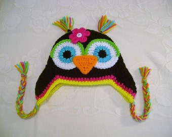 Black and Brights Crocheted Owl Hat - Prop Prop - Available in Any Size or Color Combination