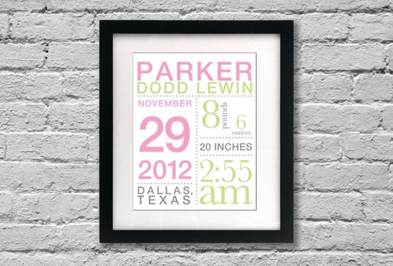 Baby Girl Birth Poster with stats: 11x14 inches Nursery Wall Art