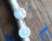 Round silver Stud Earrings. Simple geometric pattern. Lightweight minimalist