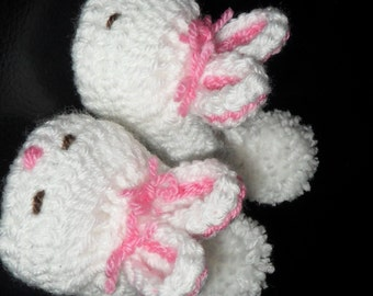Free Crochet Patterns Bunny Slippers : Instant Download 351. Bunny rabbit slippers age Newborn 0 ...