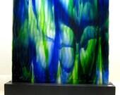 Art Glass Abstract  Ocean Waves Artist Signed  Home Decor