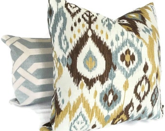 Brown, Gold and Blue Ikat Decorative LUMBAR Pillow Cover, Accent Pillow, Throw Pillows, Pillow sham