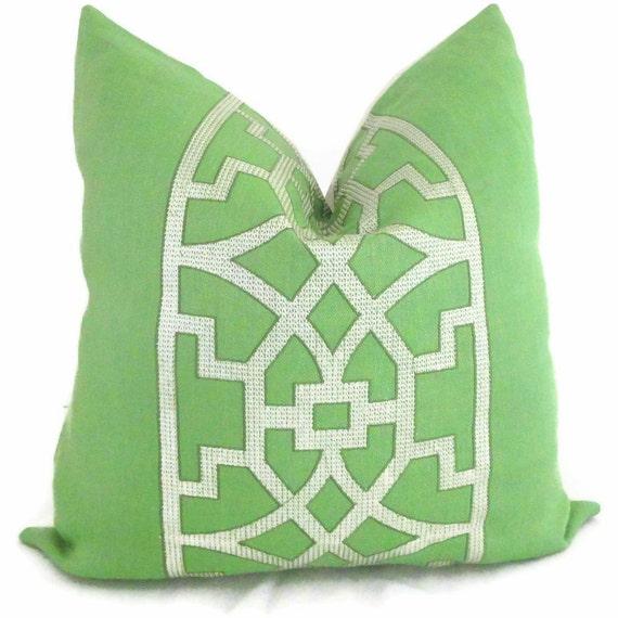 Mary Mcdonald Lettuce Green Trellis Decorative Pillow Cover