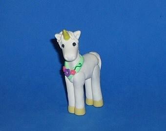 Polymer Clay White Unicorn