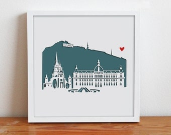 """Brasov, Romania - 11""""x14""""Personalized Gift or Wedding Gift"""
