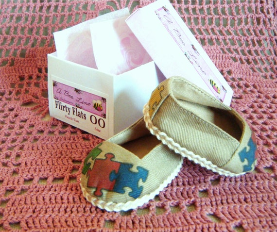 Puzzle Shoes Flirty Flats for 18 inch American Girl Doll