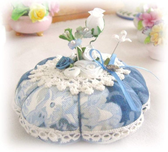 PINCUSHION Handmade Soft Sculpture BLUE and WHITE Handcrafted CharlotteStyle Needlecraft