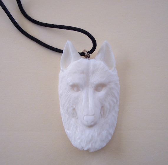 wolf totem carved bone necklace american by