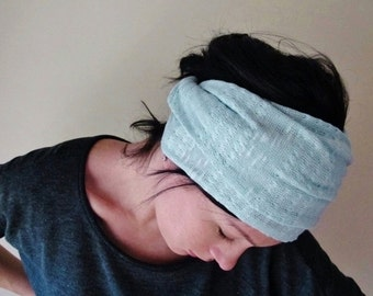 MINT Head Scarf - Lightweight Yoga Headband, Sweater Knit Headscarf, Extra Wide Hair Wrap - Hair Accessories - Mint Hair Wrap