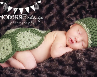 green turtle hat and shell for newborn baby photos