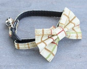 Cat Collar - Mustard Plaid - Matching Bow Tie and Flower Available