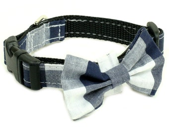 "Ready To Ship - Dog Collar with Bow Tie  5/8"" - Checkered Blue and White"