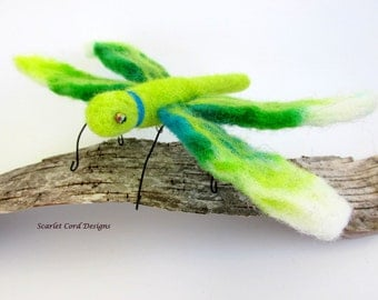 Felted Dragonfly,  Lime Green and Aqua, Needle Felted Insect, Art Sculpture, Fiber Bug, Dragonfly