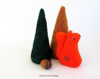 Squirrel, Needle Felt Red Squirrel, Needle Felted Animal, Made to Order