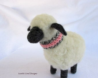 Felted Sheep in Scarf, Needle Felted Sheep, Felted Animal Sculpture, Art Doll