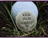 GOLF BALL MARKER or Pocket Token - Custom Sterling Silver Hand Stamped Golf Ball Marker For Dad