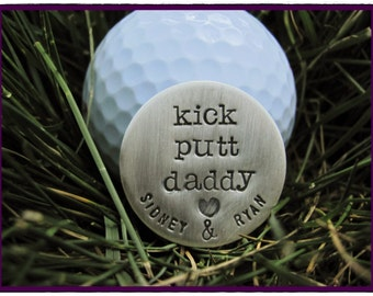 GOLF BALL MARKER or Pocket Token - Custom Sterling Silver Hand Stamped Golf Ball Marker For Dad