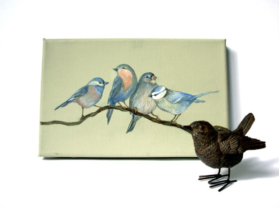 """Summer party for blue birds . Original painting on canvas 5,5"""" x 8,5. Gift idea."""