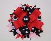Black and White Dot/Red/Pink Hair Bow with Alligator Clip or Barrette