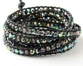 SALE 8.99 Sparkle iridescent leather five wrap bracelet.