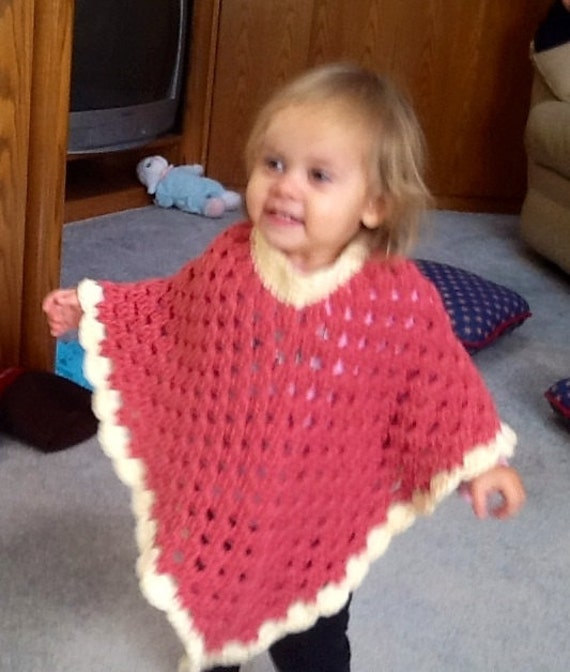Crochet Toddler Poncho in Rose