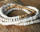 CLEARANCE -Reg. Price 2.65 - Rustic Replicas Of Ancient Beads, White 3to 6mm, 28 pcs, An-W-28