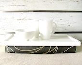 Laptop Lap Desk or Breakfast serving Tray - White with Olive Green- Custom Order