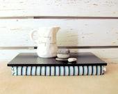 Laptop Lap Desk or Breakfast serving Tray without edges - Black with black, aqua blue, grey stripes