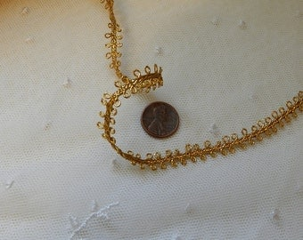 """5 Yds ~ Petite Metallic Gold  Double Loop Trim, Edging -  Petite 3/8"""" Wide - Lamp Shades, Doll Clothes, Victorian Trim"""