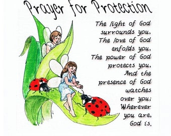 Ladybugs and Fairies Prayer for Protection greeting cards