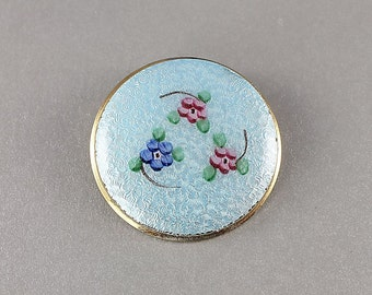 Guilloche enamel Brooch, Forget me Not Flower Blue Pink Vintage Fashion Pin