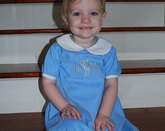 Blue Heirlom Apron Dress with Monogram