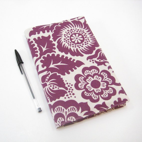 Cloth cover for Large Moleskine notebook or 2014 planner, purple white bold floral, handmade notebook covers