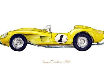 """1958 Ferrari Testa Rossa, classic automobile watercolor print, 8x10"""""""