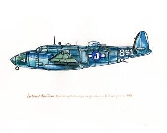 "Blue bomber vintage airplane watercolor print, 8x10"""