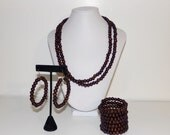 Wooden Jewelry, Dark Brown Jewelry Sets, Beaded Jewelry for Women, Long Necklace, Bead Jewelry Set, Brown Wood Necklace, Wood Bracelet,