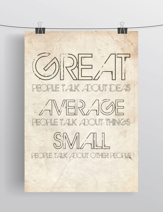 Great, average and small people poster