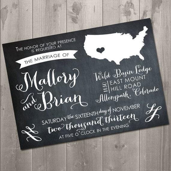 Diy Chalkboard Wedding Invitations: Items Similar To Swirly State Chalkboard Wedding
