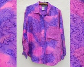 Vintage 90s Hand-Painted WATERCOLOR Silk Blouse