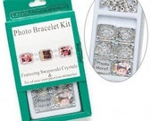 SALE - Photo Bracelet Kit - Daisy Silver-plate Sapphire Blue Swarovski Crystals-DIY Gift Favor
