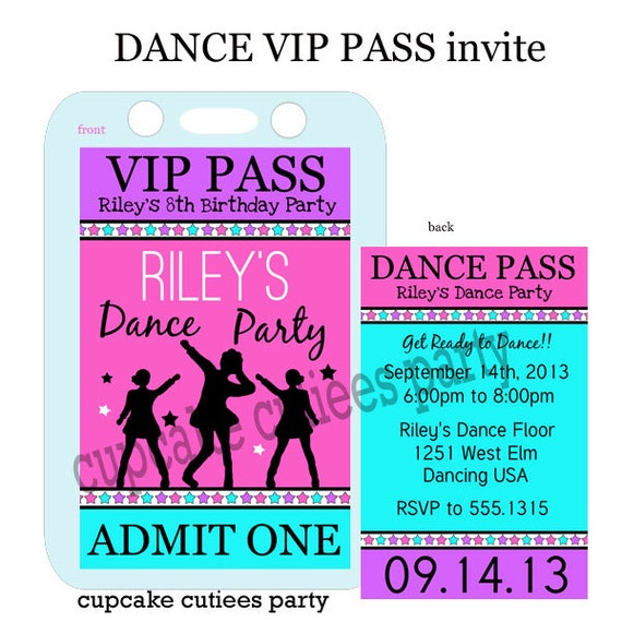 Decorative Wedding Invitation Badge 7: Dance Party Silhouette VIP Lanyard Badge By