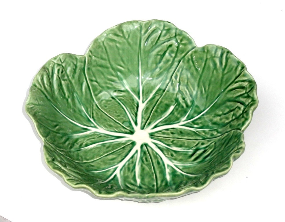 Bordallo pinheiro salad bowl majolica green cabbage round made - Bordallo pinheiro portugal ...