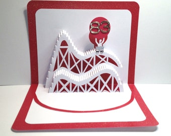 83rd BIRTHDAY 3D Pop Up Roller Coaster Card CUSTOM ORDER Handmade in White and Bright Metallic Shimmery Red