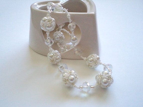 White  Wedding Necklace,  Beaded ball  and Pearl Necklace