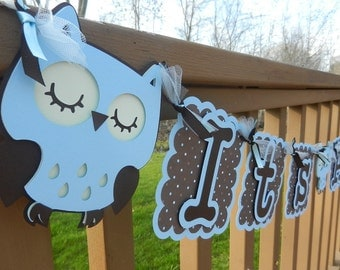 Baby Shower It's A Boy Banner Owl