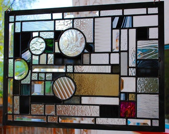 Stained Glass Window Prairie Panel black and clear