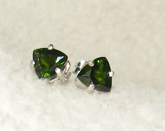 Trillion Chrome Diopside Earrings