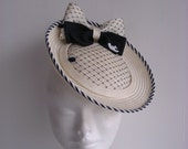 10% off - Natural straw  hat fascinator vintage style  nautical style 1930' 1940' 1950'