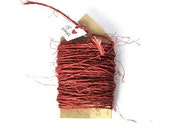 Hand dyed burnt red rough sisal cord. Natural string fibers Rustic rope trim